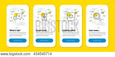 Vector Set Of Augmented Reality, Mail And Reject Line Icons Set. Ui Phone App Screens With Line Icon