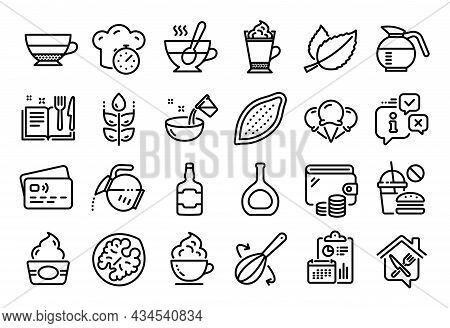 Vector Set Of Walnut, Americano And Cooking Whisk Line Icons Set. Calendar Report, Money Wallet And