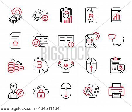 Vector Set Of Technology Icons Related To Web System, Edit Person And Seo Stats Icons. Scroll Down,