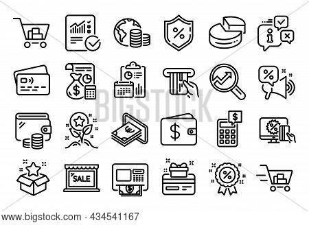 Vector Set Of Shopping Cart, Analytics And Checked Calculation Line Icons Set. Calendar Report, Mone