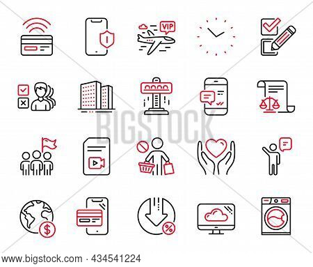 Vector Set Of Business Icons Related To Stop Shopping, Washing Machine And Smartphone Notification I