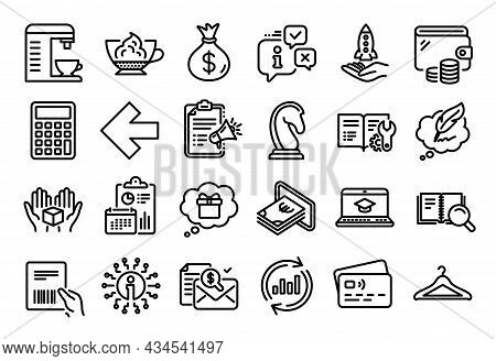 Vector Set Of Left Arrow, Info And Gift Dream Line Icons Set. Calendar Report, Money Wallet And Cred