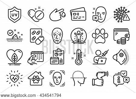 Vector Set Of Blood Donation, Dog Paw And Face Scanning Line Icons Set. Calendar Report, Money Walle