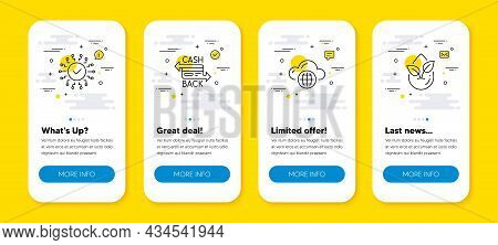 Vector Set Of Cloud Computing, Cashback Card And Security Network Line Icons Set. Ui Phone App Scree