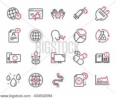 Vector Set Of Science Icons Related To Instruction Info, Timeline And Trade Chart Icons. Electric Pl