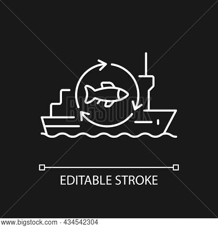 Fish Processing Vessel White Linear Icon For Dark Theme