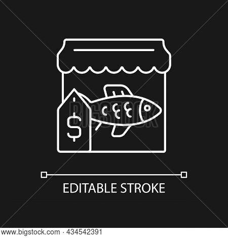 Fish Market White Linear Icon For Dark Theme