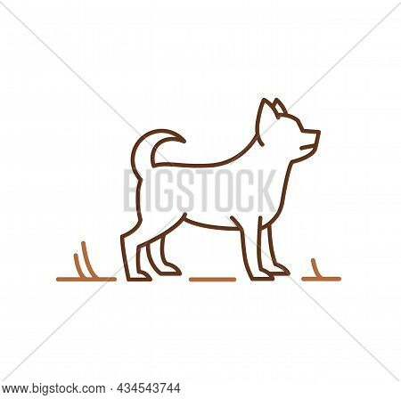 Chihuahua Dog Silhouette, Outline Hand-drawn Vector Illustration For Veterinary Logo Symbol Or Petsh