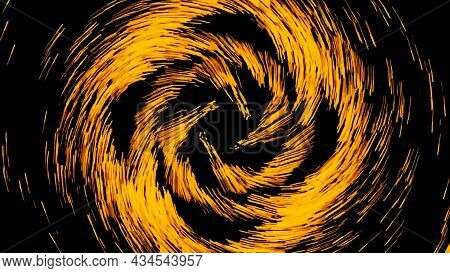 Abstract Spinning Space Objects With Starry Tails. Design. Colorful Cosmic Comets Rotating On A Blac