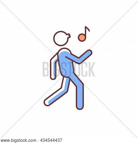 Whistle Rgb Color Icon. Bad Habit. Whistling Man. Person Walking Merrily And Whistling Melody. Habit