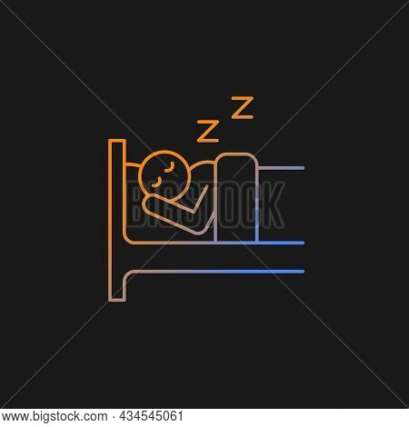 Sleep Gradient Vector Icon For Dark Theme. Person Sleeping Soundly In Bed. Healthy Lifestyle, Habits