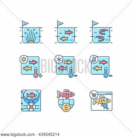Fish Product Farming And Storing Rgb Color Icons Set. Sterilization And Preservation. Commercial Fis