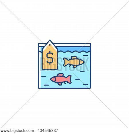 Live Fish Trade Rgb Color Icon. Fresh Catch Selling. Aquarium And Ornamental Fish. Consumers Demand.