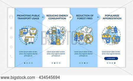 Sustainability Initiatives Onboarding Vector Template. Responsive Mobile Website With Icons. Web Pag