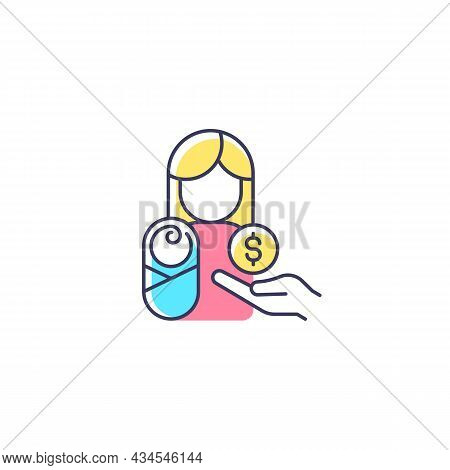 Paid Parental Leave Rgb Color Icon. Care For Born, Adopted Child. Improving Maternal Health. Family
