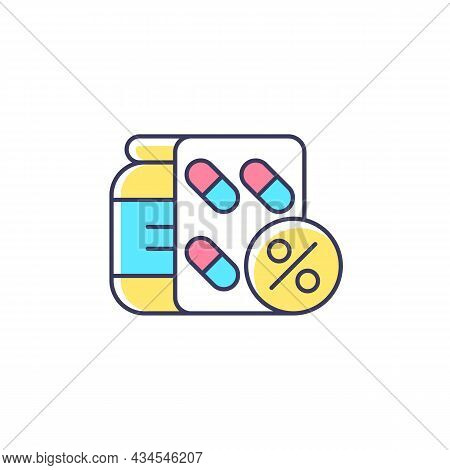Reduced Prescription Drug Cost Rgb Color Icon. Providing Health Benefits To Employees. Saving Worker