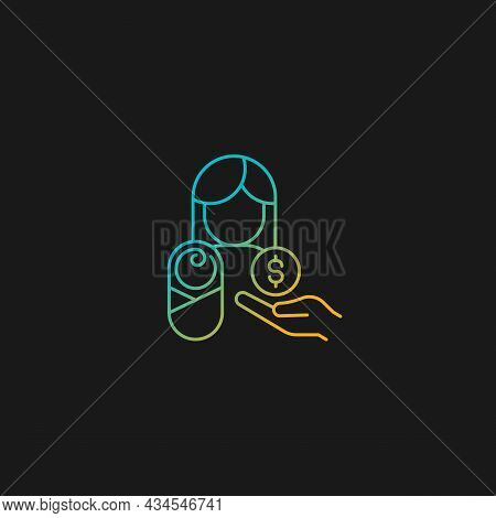 Paid Parental Leave Gradient Vector Icon For Dark Theme. Care For Born, Adopted Child. Improving Mat