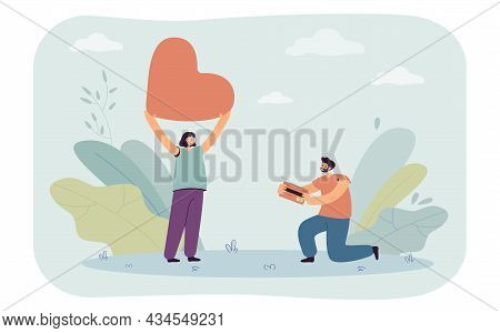Man Proposing To Woman. Tiny Male Character On Knee Giving Credit Card To Girl With Giant Heart Flat