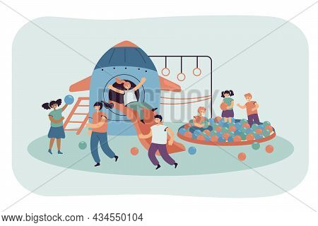 Cute Cartoon Kids Having Fun In Day Care Center. Children Playing In Game Room Flat Vector Illustrat