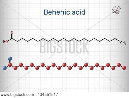 Behenic Acid, Molecule. It Is Docosanoic Acid, Straight-chain, Long-chain Saturated Fatty Acid. Stru