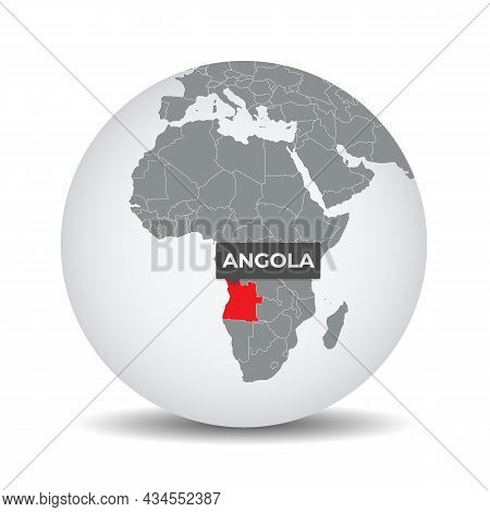 World Globe Map With The Identication Of Angola. Map Of Angola. Angola On Grey Political 3d Globe. A