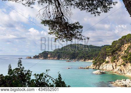 Spain, Catalonia, Costa Brava, Sea Shore With Cliff