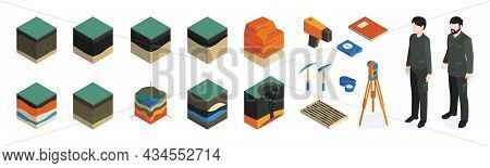 Isometric Geological Color Icon Set With Geodesists Equipment And Tools For Work And Models Of Soil