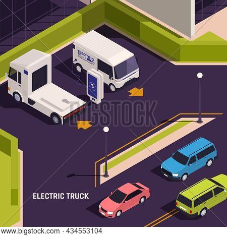 Electric Vehicles Curbside Charging Stations On City Street Isometric Composition With Platform Truc