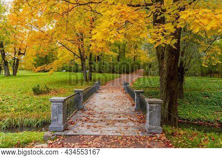 Bridge In Catherine Park In Autumn Foliage, Pushkin (tsarskoe Selo), Saint Petersburg, Russia