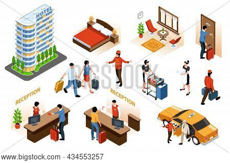 Isometric Set With Hotel Interior And Exterior Checking In Visitors Porters Maids Isolated 3d Vector