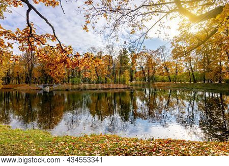 Pond In Alexander Park In Autumn, Pushkin (tsarskoe Selo), Saint Petersburg, Russia