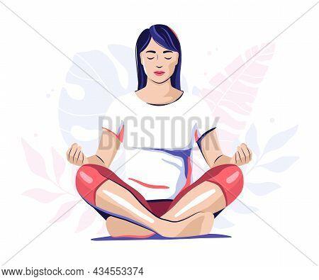 Meditating Woman, Girl Sitting Cross-legged, Yoga Illustration