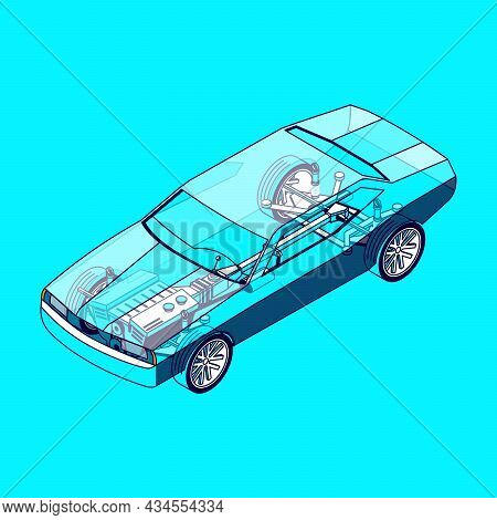 Car Parts Isometric Composition With Isolated Image Of Transparent Automobile Body With Visible Part