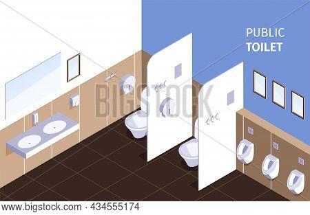 Public Wc Watercloset Bathroom Restroom Washbasins Separated Flash Toilets Urinals Mirrors Interior