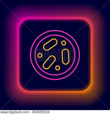 Glowing Neon Line Petri Dish With Bacteria Icon Isolated On Black Background. Colorful Outline Conce