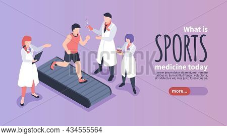 Doping Sports Medicine Isometric Horizontal Banner With Athlete Running On Treadmill And Medical Wor