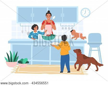 Stressed Tired Mom Cooking In Kitchen With Her Kids, Flat Vector Illustration. Parental Stress.