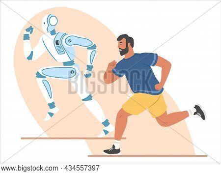 Robot And Human Running Marathon Race, Flat Vector Illustration. Ai, Robotic Machine Winning Competi