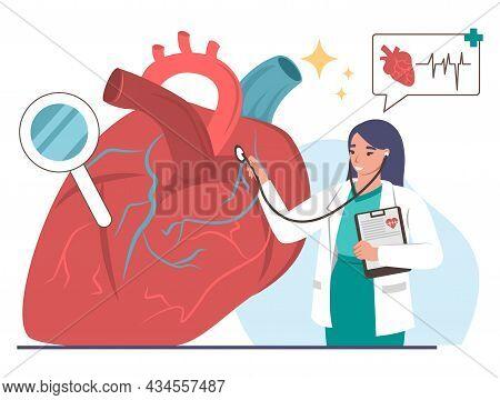 Doctor Cardiologist Examining Human Heart With Stethoscope, Vector Illustration. Cardiology, Medicin