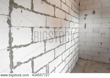 Corner Of A Brick White Wall At A Construction Site
