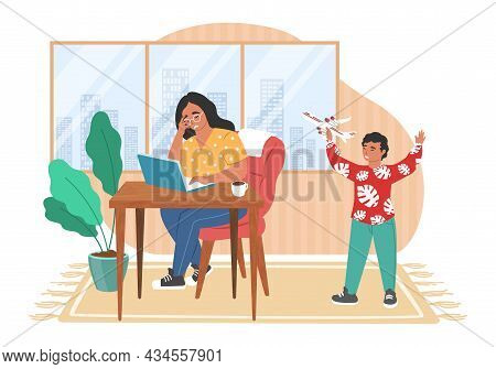 Stressed Mom Working On Computer While Kid Making Noise Playing With Plane Toy, Vector Illustration.