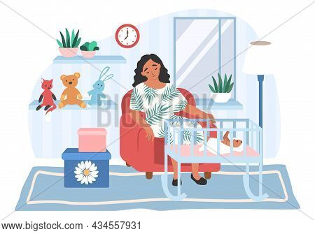 Tired Depressed Mom Sitting In Armchair By Baby Crib, Flat Vector Illustration. Parental Stress, Pos
