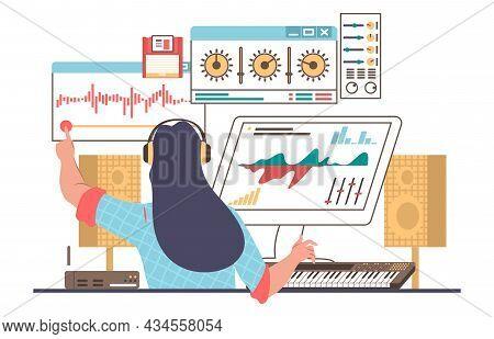 Sound Designer, Engineer Wearing Headphones Creating, Recording Music, Flat Vector Illustration. Sou