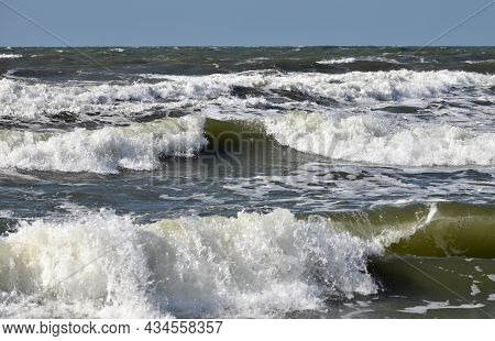 Waves Running With Foam In The Baltic Sea, Autumn