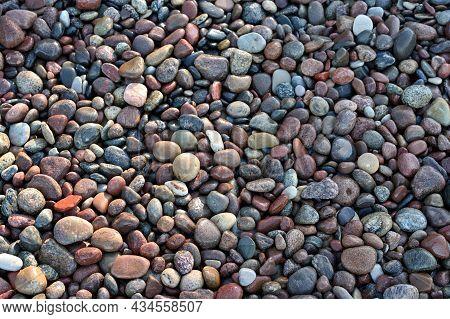 Sea Pebbles. Background Of Pebbles. Multicolored Pebbles.