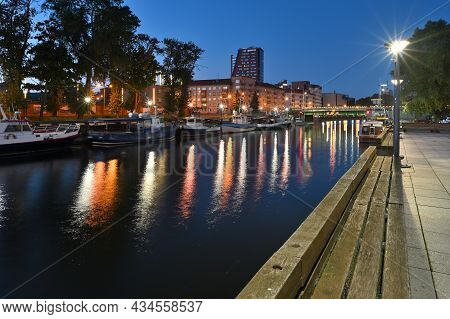 Klaipeda, Lithuania - September 25: Old Town Architecture And Port, Night Time At September 25, 2021