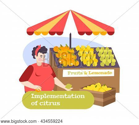 Market Stall With Cirtrus Fruit Lemonade And Chubby Seller Flat Composition Vector Illustration