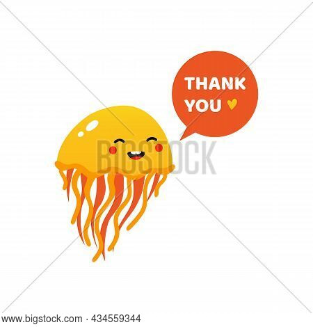 Cute And Happy Cartoon Style Jellyfish Character With Speech Bubble Saying Thank You, Showing Apprec