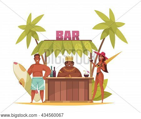 Outdoor Hawaii Bar And Happy Suntanned People In Swimsuits Cartoon Vector Illustration