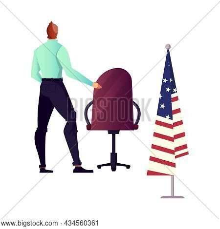Flat Icon With Character Of Politician Chair And American Flag Isolated Vector Illustration